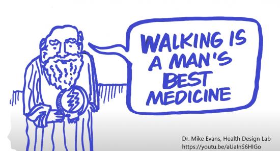 Walking is a man's best medicine paars